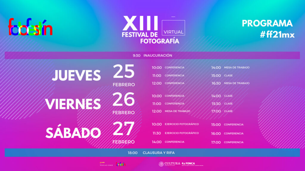 Programa-del-XIII-Festival-de-Fotografía-fotofestín-lanzamiento-conferecnias-clases-cursso-talleres-de-foto-mexico-ff21mx
